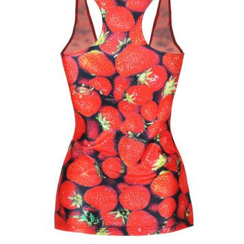 Casual Stylish Racerback 3D Strawberry Printed Sleeveless T-Shirt