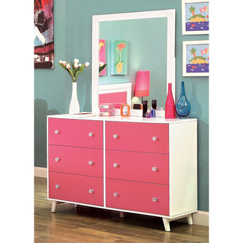 Sharline Contemporary Dresser and Mirror Set in Pink