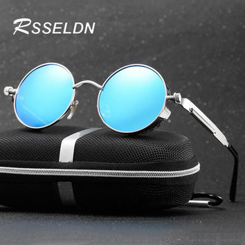 RSSELDN 2017 Brand men Polarized Steampunk Sun glasses gothic Mirrored Round Circle Sun glasses Retro UV400 Vintage Glasses S122