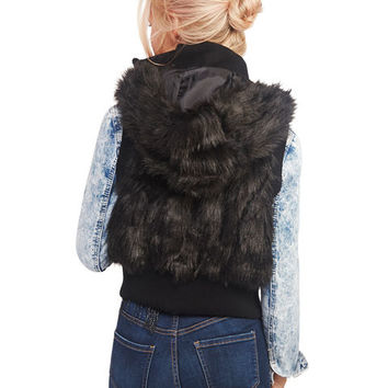 Faux Fur Hooded Vest | Wet Seal