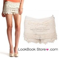Vintage Summer Gorgeous Womens Sexy Beige Side Zip Crochet Lace Shorts Hot Pants