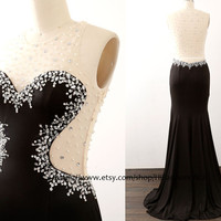 Mermaid Black Prom Dresses, Jersey Long Prom Gown , See through Black Jersey Formal Dresses, Evening Gown, Wedding Bridesmaid Dress