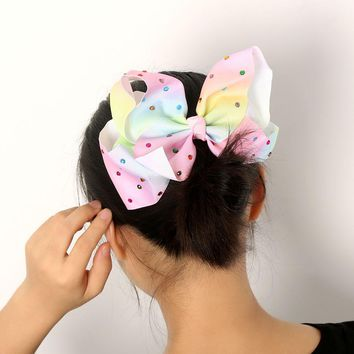 2017 Newest Big bowknot hairpins with multicolor diamond girl barrette large colorful bow hair clip jojo Hair Accessories