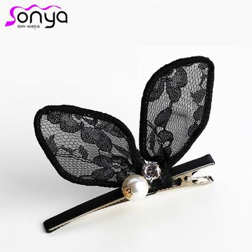 MWsonya Lace Sexy Hairpins for Women Rabbit Ear Pattern Rhinestone Shiny Luxury Handmade Hair Clip FJ020
