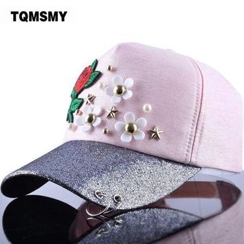 PEAPU3S TQMSMY Women's Baseball Cap Hat Star Rose Flower Bling Brim Ring Women Snapback Cap Gorras Adjustable Woman Floral Caps TMBS32