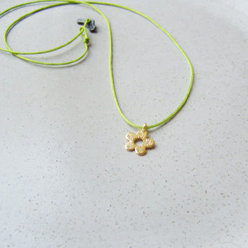 Gold flower pendant, solid gold 18k  flower pendant on a chartreuse cord with black, sterling clasp