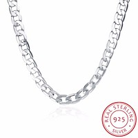INALIS Men's 20'' 50CM 10MM Hip Hop Chain Necklace 925 Sterling Silver Fine Jewelry Statement Necklace Colar de Prata For Party