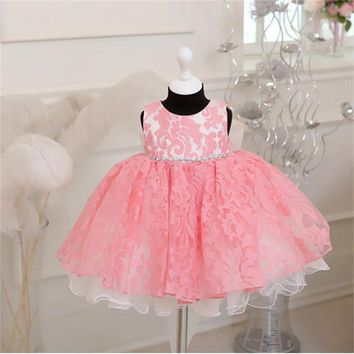 Vintage Newborn Baby Girls Princess 1 year Birthday Party Baptism Formal Gown Dress Bow Children Kids Dresses For Girls Toddler