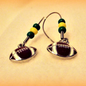 Football Colors Earrings, Football Earrings, College Color Earrings, NFL Color Earrings, Mom Jewelry - School Spirit