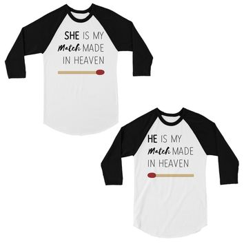 Match Made In Heaven Cute Matching Couples Baseball Shirts Gift