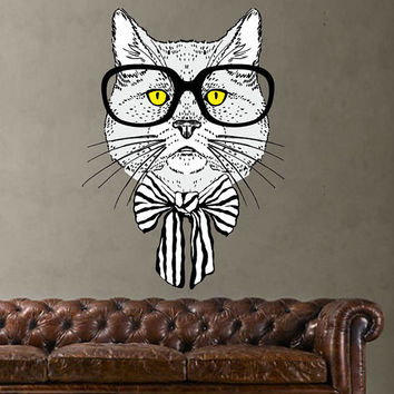 Hipster Cat Wall Decal - Vintage Cat Wall Sticker - Hipster Style Cat Wall Decor Art - Boho Hippie Wall Decoration - Cat Fashion Decal mc172