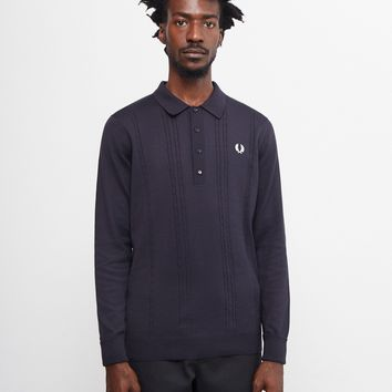Fred Perry Cable Knit Polo Shirt Navy