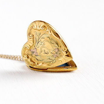 Vintage Heart Locket - Gold Filled Letter C Monogram Mid Century Necklace - 1940s WWII Sweetheart Puffy Pendant Petite Romantic Love Jewelry