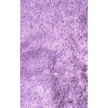 LA Rugs Silky Shag Collection Purple Area Rug