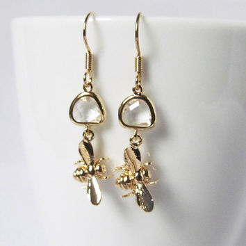 bee earrings, gold bee earrings, bee jewelry, bee jewlery, bee earings, bee wedding