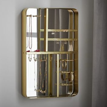Brass Wall Mounted Jewelry Organizer