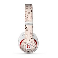 The Tan Music Note Pattern Skin for the Beats by Dre Studio (2013+ Version) Headphones