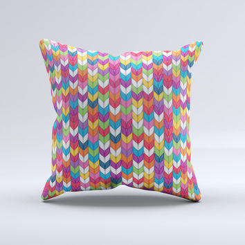 Color Knitted Ink-Fuzed Decorative Throw Pillow