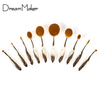 make up brushes oval 10Pcs Makeup Brushes for Face Eye Cosmetic Tools Set Kit Foundation Contour Blending Brush