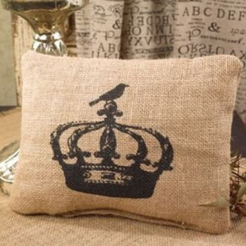 Vintage French Crown with Bird Small Burlap Accent Throw Pillow - 7-in x 8-1/2-in