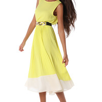 YELLOW MIDI DRESS WITH PLEATED SKIRT