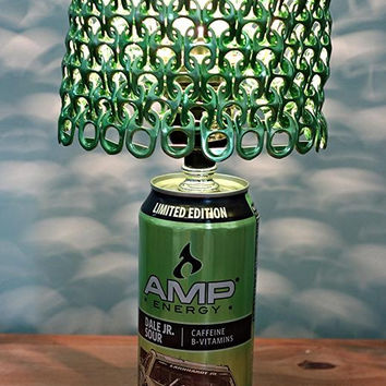 Limited Edition Dale Earnhardt Jr. Sour Amp Energy Can Lamp with Bright Metallic Green Anodized Tab Lamp Shade