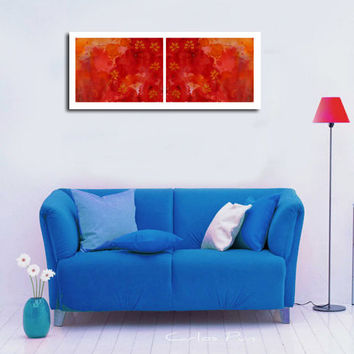 Contemporary Modern  Wall & Home Decor, 2 Piece Red Abstract Large Art Prints, Yellow flowers, ,  Watercolor Paintings, High quality Prints