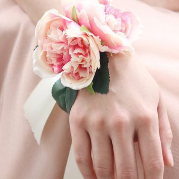 "Pink Cabbage Rose Wrist Corsage - 3"" Blooms"