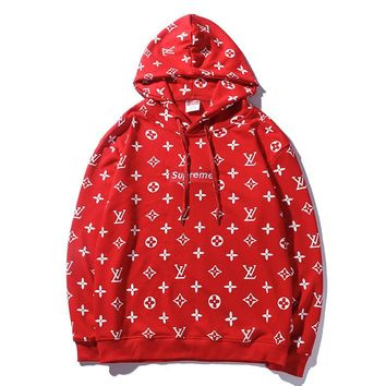 LV X Supreme LOGO full printing LOGO embroidery standard spring and autumn hooded vest for men and women in the same style of fashion and leisure