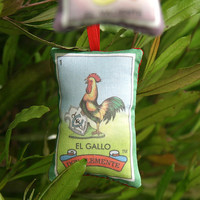 Gallo Rooster Mexican Loteria Christmas Ornament - Dia De Los Muertos / Day of the Dead / Mexico Decor