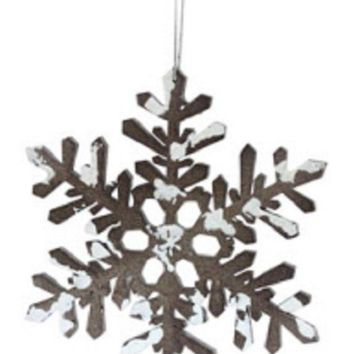 MDIGMS9 6' Snowy Winter Glitter Tipped Brown and White Snowflake Decorative Christmas Ornament