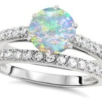 Star K Round 7mm Simulated Opal Wedding Ring Size 7