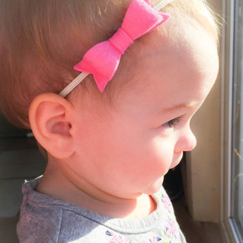 Purple Felt Bow Headband Set, Pink Felt Bow Headband, Light Blue Bow Headband, Felt headbands, Felt Bow Headband, Baby Headband Set