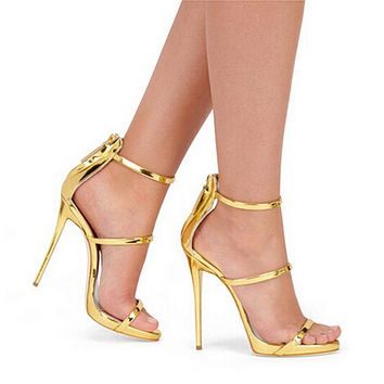 Women Leather Gladiator Sandals High Heels Simple Three Straps Cross Foot Sandals Shoes