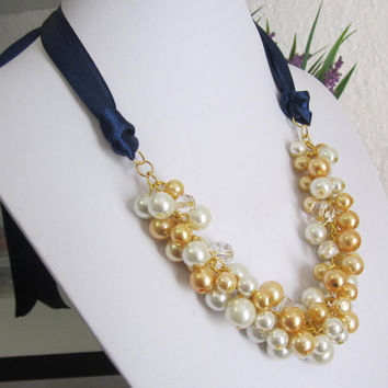 Ivory and Gold Pearl Necklace with Navy Blue Ribbon, Chunky Ribbon Necklace, Bridal Jewelry, Wedding Necklace, Ivory Bridesmaid Necklace