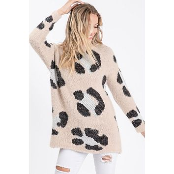 Fuzzy Leopard Sweater - Taupe