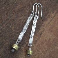 Handmade Women's Long Rustic Silver and Brass Earrings / Dangly / Textured and Oxidised Sterling Silver and Brass Beads