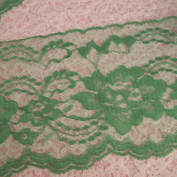 """5 Yards, Green Lace Trim,4"""" wide,Sachet Lace,Apparel,Lingerie,Bridal Accessories,Lace for Invitations,Mason Jar Lace,Scrapbooking,Costumes"""