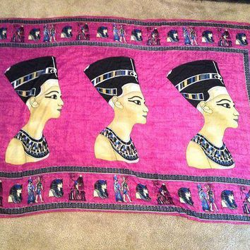 Huge Xl Egyptian Handmade Queen Nefertiti Cotton Woman Purple Scarf From Egypt...