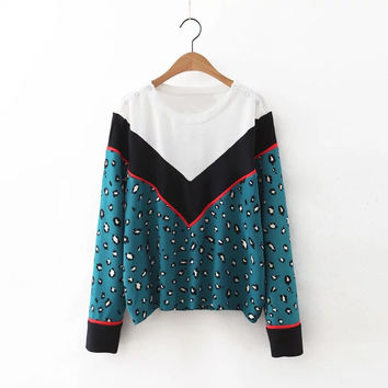 Stylish Patchwork Leopard Tops Round-neck Long Sleeve Casual Hoodies Bottoming Shirt [8542252935]