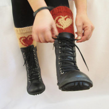 Valentine's Day Gift, Knitted boot cuffs, Buff and  Cinnamon colors ,  Two in One, Leg Warmer, Very Long Cuff, Garnished with heart pattern.