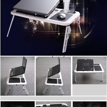 Adjustable Portable Laptop Table USB Folding 2 Cooling Fan Mouse Pad New