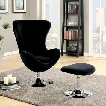 Furniture of america CM-AC6841BK 2 pc Shelia black flannelette fabric rounded back accent chair and ottoman