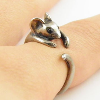 Animal Wrap Ring - Mouse - White Bronze - Adjustable Ring - Keja Jewelry