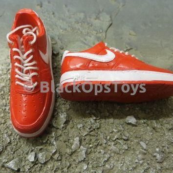 Red & White Nike Foot Type Tennis Shoes
