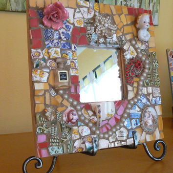 Pique Assiette Mosaic Mirror- Made to Order   Broken China Mosaic