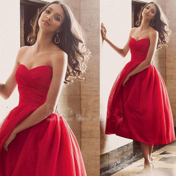 Sweetheart Chiffon Simple Red Prom Dresses