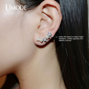 UMODE Simulated Pearl Round Cut CZ White Gold Color Mismatched Ear Cuffs Earrings Jewelry for Women Oorbellen Brinco UE0181B
