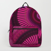 Bright Pink Mandala with Gold Brushed Stitching Backpack by Sheila Wenzel