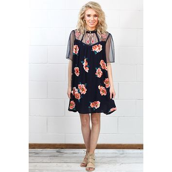 Meshed with Floral Embroidery Dress {Navy}